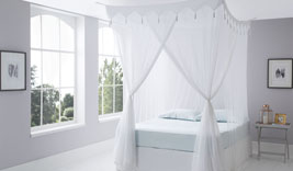 Decorative Top Cotton Mosquito Net Bed Canopies Box / Square Design in King & Queen Sizes